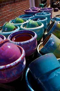 Glazed pottery for sale at Homestead Garden Center